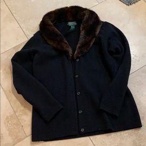 Ralph Lauren blk wool cardigan w/faux fur trim